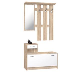 scarpiera con specchio e appendiabiti legno ante bianche