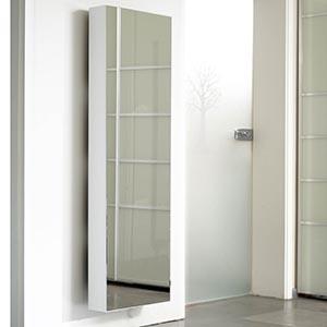 scarpiera slim con lo specchio bianca